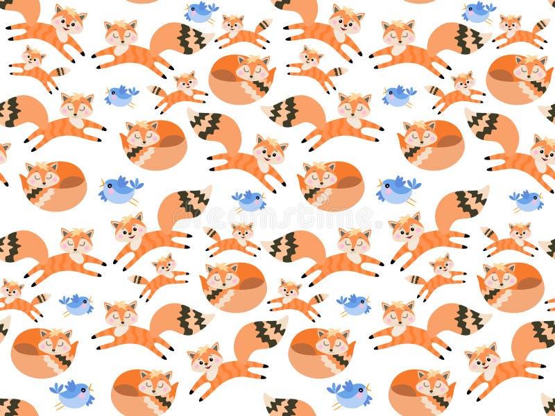 Śliczni kreskówka lisy i mali błękitni ptaki odizolowywający na białym tle w wektorze bezszwowy wzoru Druk dla tkaniny, tapeta ilustracji