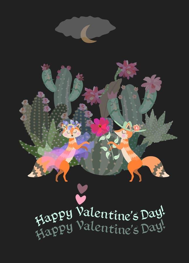?liczni kresk?wka lisy na romantycznej dacie w?r?d kwitn?cych kaktus?w Nocne niebo, chmura i ksi??yc, Szcz??liwy walentynki ` s d ilustracji