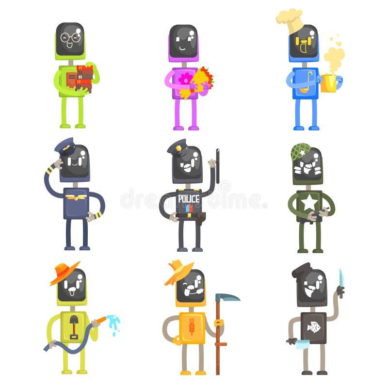 Śliczni kreskówka roboty w różnorodnych zawodach z fachowym wyposażeniem ustawiającym kolorowe charakteru wektoru ilustracje ilustracja wektor