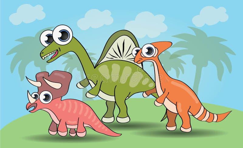 Śliczni kreskówka stylu dinosaury ustawiający royalty ilustracja