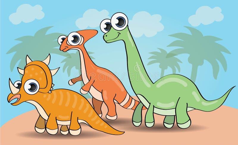 Śliczni kreskówka stylu dinosaury ustawiający ilustracja wektor
