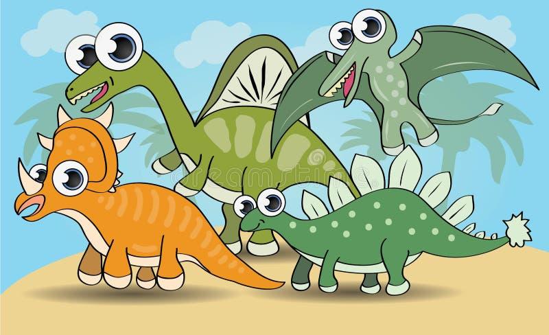 Śliczni kreskówka stylu dinosaury ustawiający ilustracji