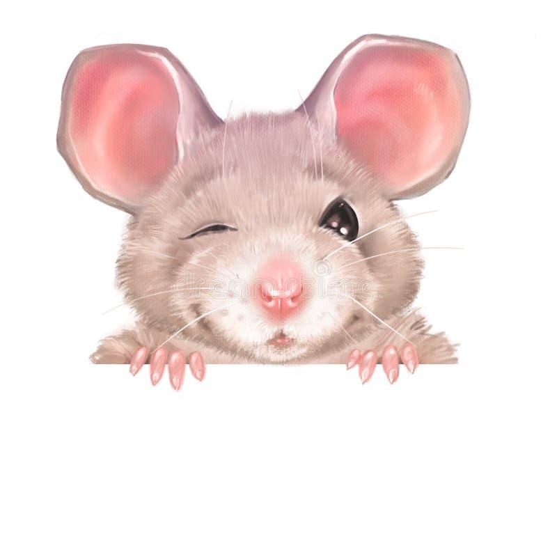 Śliczni kreskówka szczura mrugnięcia royalty ilustracja