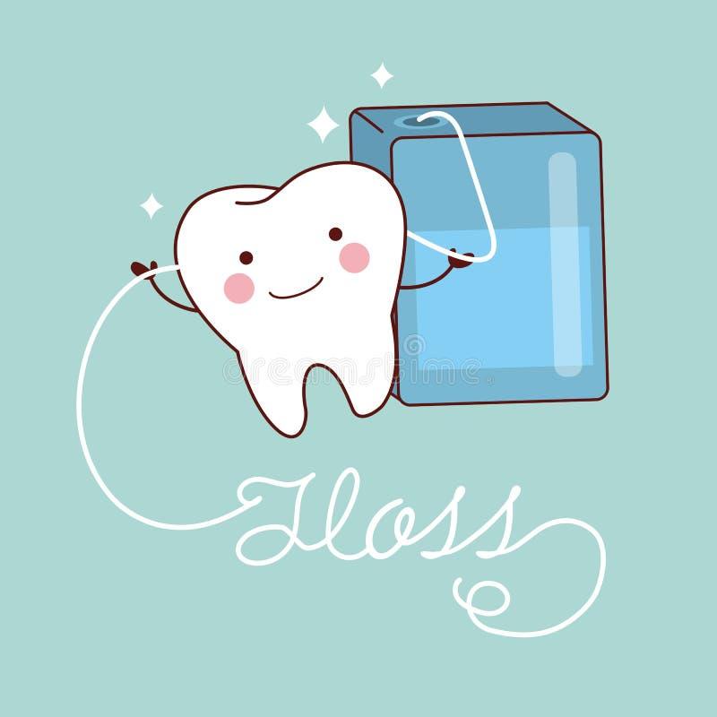Śliczni kreskówka zęby z floss ilustracji