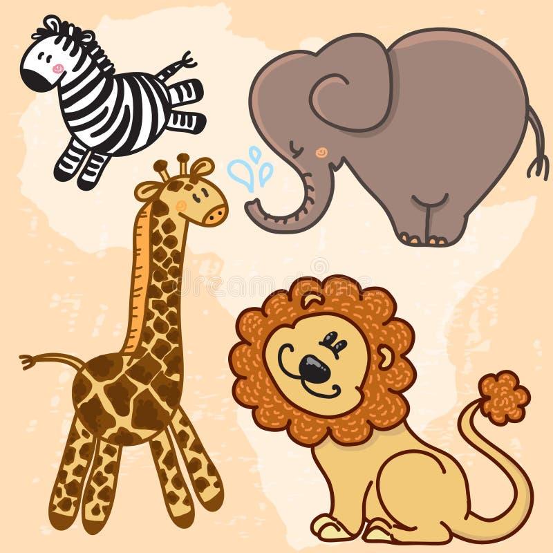 Śliczni kreskówki dziecka afrykanina zwierzęta kreskówki serc biegunowy setu wektor ilustracji