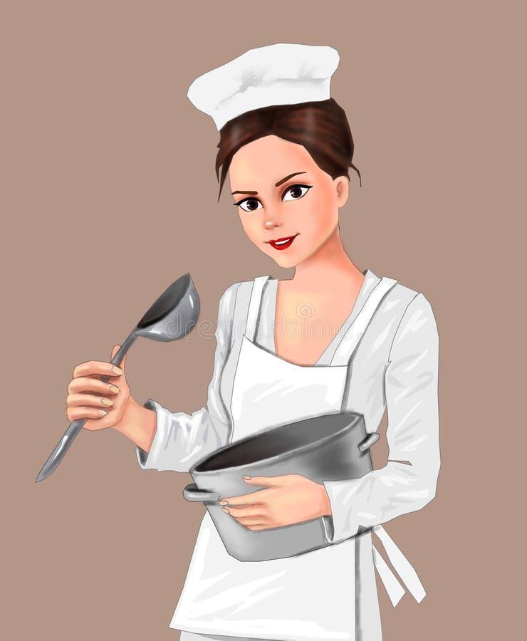 Śliczni kucbarscy dziewczyna kucharzi w kuchennej dziewczynie, kucbarska szef kuchni dziewczyna, kucharz, kuchnia, jedzenie, kuch ilustracji