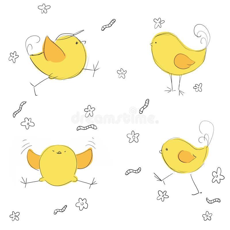 Śliczni kurczaki ustawiający royalty ilustracja