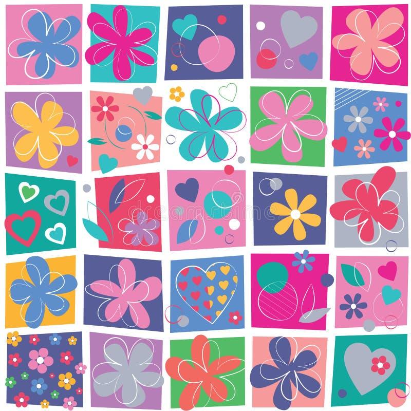 Śliczni kwiaty i serca tło ilustracja wektor