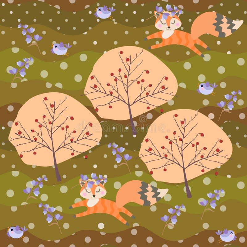 Śliczni lisów lisiątka w wiankach dzwonkowi kwiaty i mali ptaki baraszkują w lato patchworku lasowym Bezszwowym wzorze w wekt royalty ilustracja