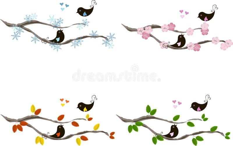 Śliczni lovebirds na gałąź, serca, dla sezonów royalty ilustracja