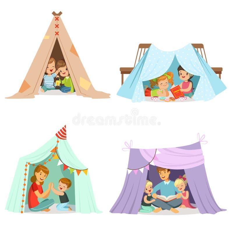 Śliczni małe dzieci bawić się z teepee namiotem, set dla etykietka projekta Kreskówek szczegółowe kolorowe ilustracje ilustracja wektor