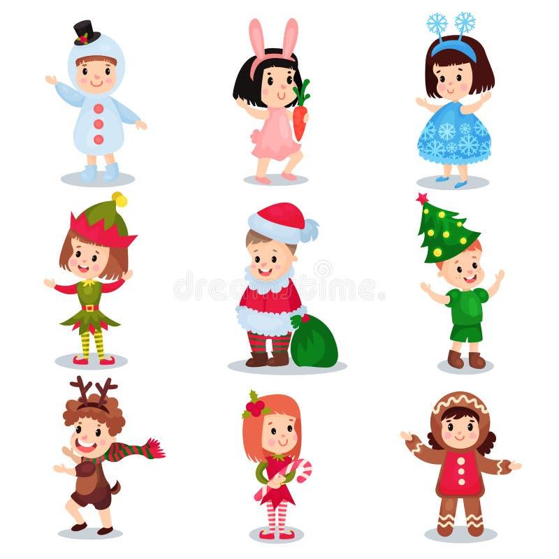 Śliczni małe dzieci jest ubranym Bożenarodzeniowych kostiumy ustawiają, szczęśliwi dzieci ilustracja wektor