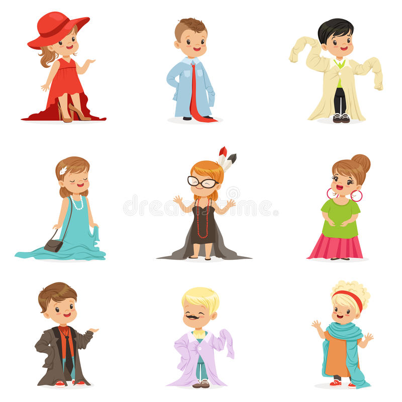 Śliczni małe dzieci jest ubranym eleganckich dorosłych dużych rozmiarów ubrania ustawiają, dzieci udaje być dorosłego wektoru ilu ilustracji