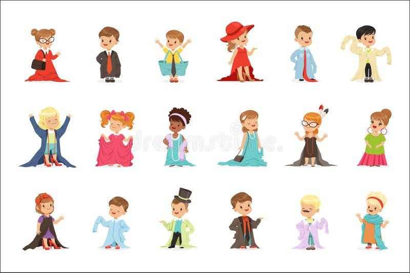 Śliczni małe dzieci jest ubranym eleganckich dorosłych dużych rozmiarów ubrania ustawiają, dzieci udaje być dorosłego wektoru ilu royalty ilustracja