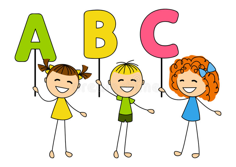Śliczni małe dzieci z ABC listami ilustracja wektor