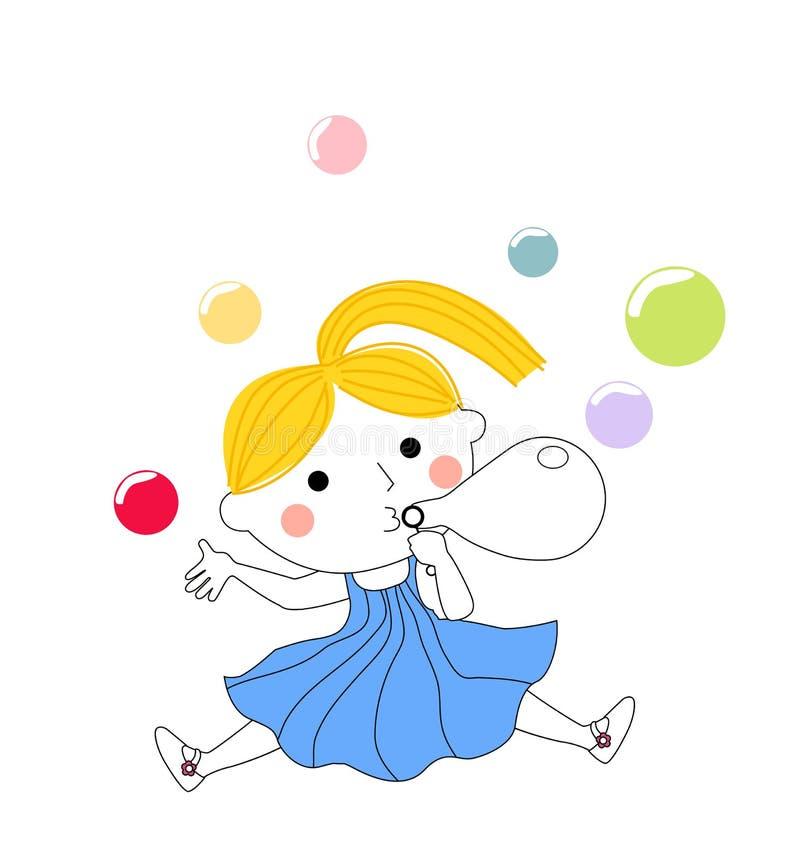 Śliczni małej dziewczynki dmuchania bąble royalty ilustracja