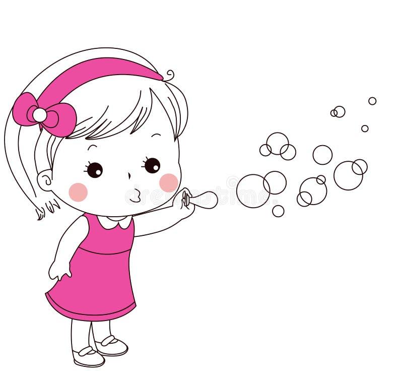 Śliczni małej dziewczynki dmuchania bąble ilustracji