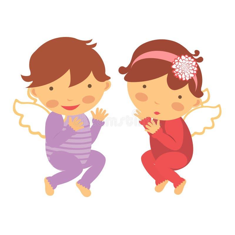 Download Śliczni mali aniołowie ilustracja wektor. Ilustracja złożonej z chłopiec - 28957370