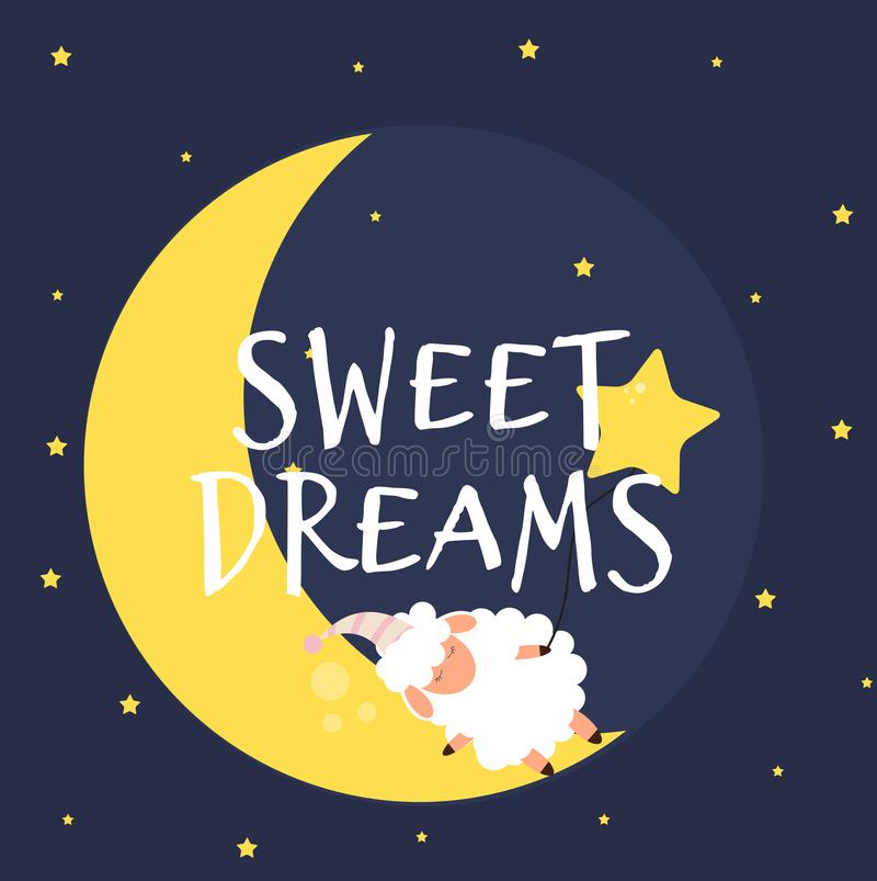 Śliczni mali cakle na nocnym niebie słodki sen również zwrócić corel ilustracji wektora ilustracji