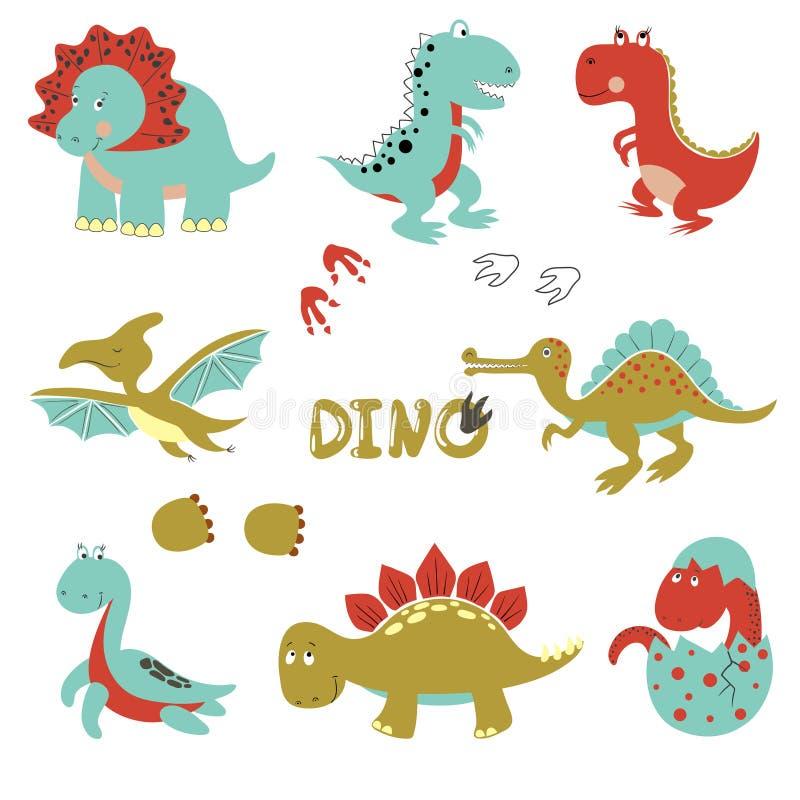 Śliczni mali dinosaury ustawiający ilustracja wektor
