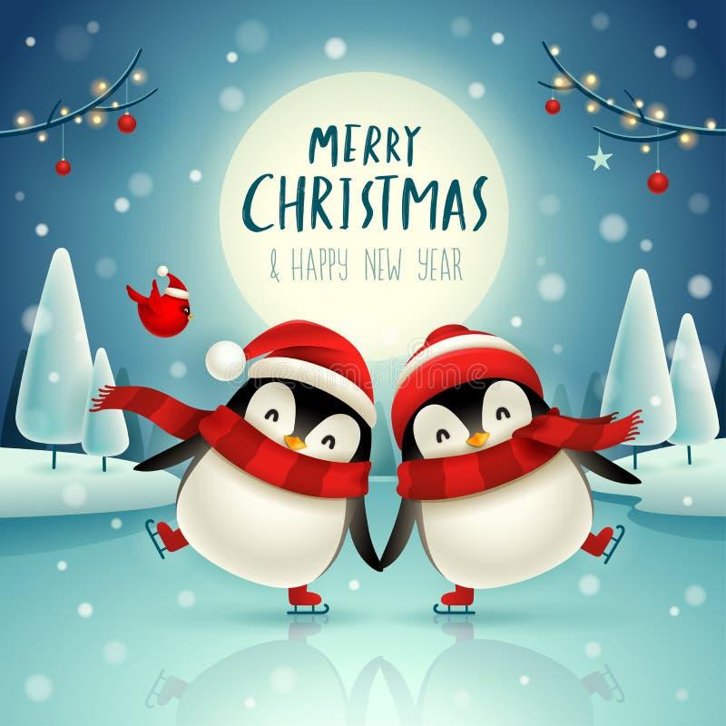 Śliczni mali pingwiny jeździć na łyżwach na zamarzniętej rzece pod blask księżyca w Bożenarodzeniowej śnieżnej scenie Bożenarodze ilustracji