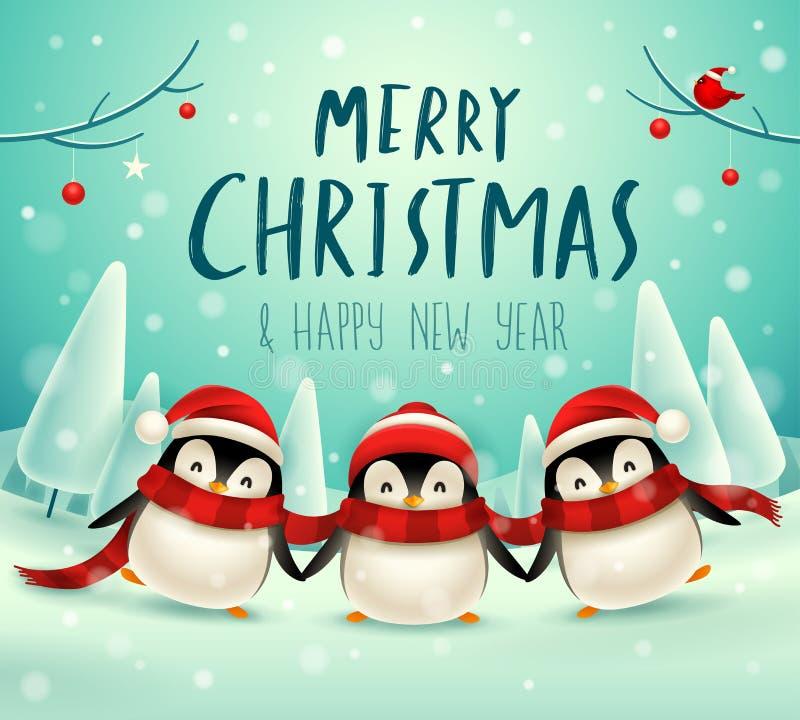 Śliczni mali pingwiny w Bożenarodzeniowym śnieżnym sceny zimy krajobrazie Bożenarodzeniowa śliczna zwierzęca postać z kreskówki royalty ilustracja