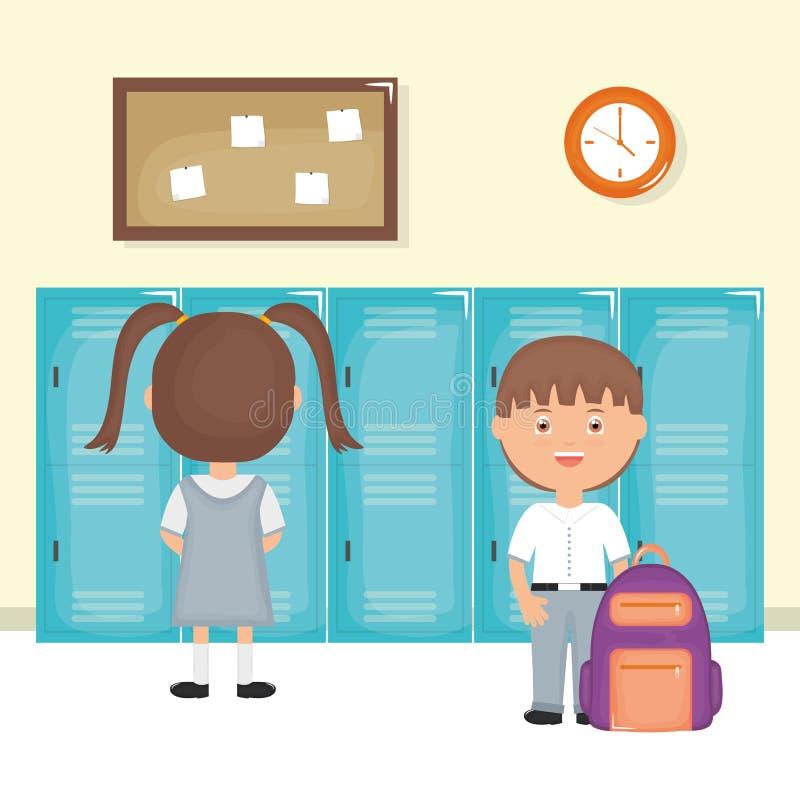 Śliczni mali ucznie dobierają się w szkolnej scenie royalty ilustracja
