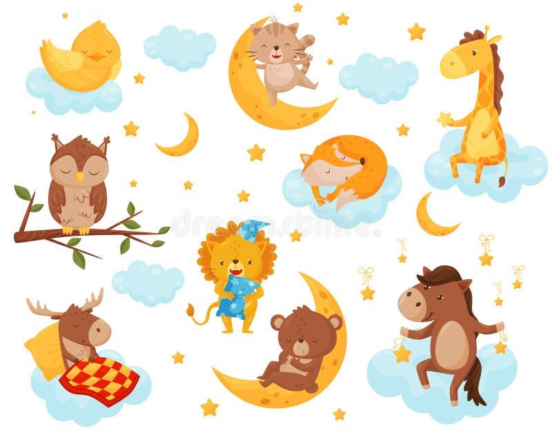 Śliczni mali zwierzęta śpi pod gwiaździstym niebo setem, uroczy kurczak, kot, żyrafa, koń, niedźwiedź, rogacz, sowy dosypianie da ilustracji