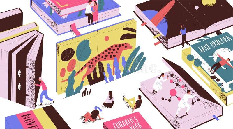 Śliczni malutcy ludzie czyta bajki, fantastyka naukowa, gigantyczni podręczniki Pojęcie książkowy świat, czytelnicy przy bibliote ilustracja wektor