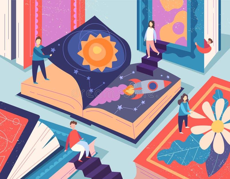Śliczni malutcy ludzie czyta różne książki, gigantyczni podręczniki Pojęcie książkowy świat, czytelnicy przy biblioteką, literatu ilustracji