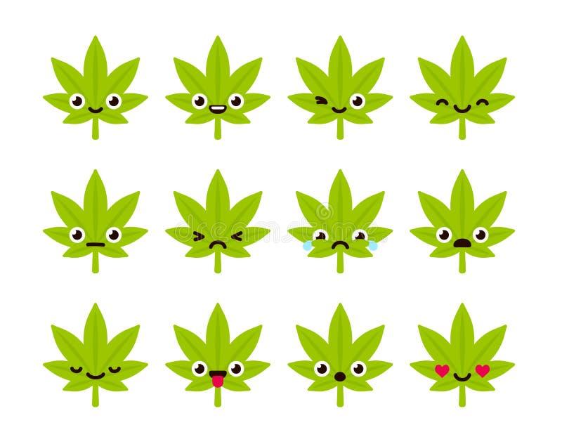Śliczni marihuan emoticons ilustracji