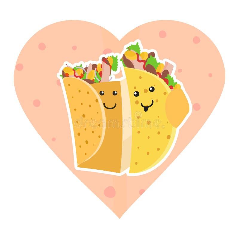Śliczni meksykańscy karmowi uśmiechnięci taco i burrito charaktery obejmuje each inny ilustracji