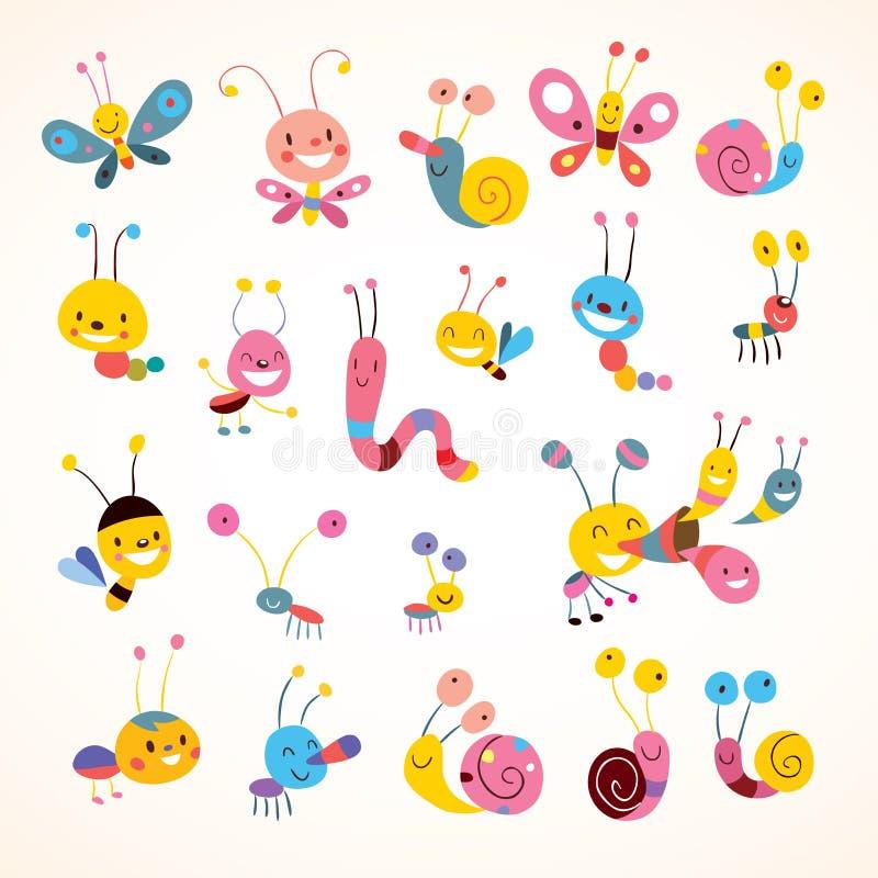Śliczni motyli ścig ślimaczki ustawiający ilustracja wektor