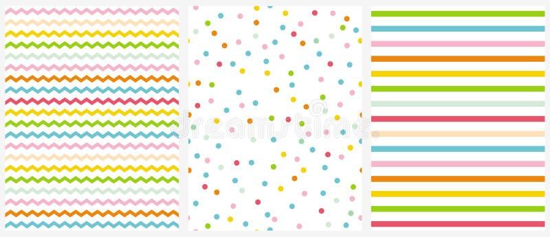 Śliczni Multicolor Geometryczni Bezszwowi wektorów wzory Menchii, błękita, koloru żółtego i zieleni polki kropki, Malutki szewron royalty ilustracja