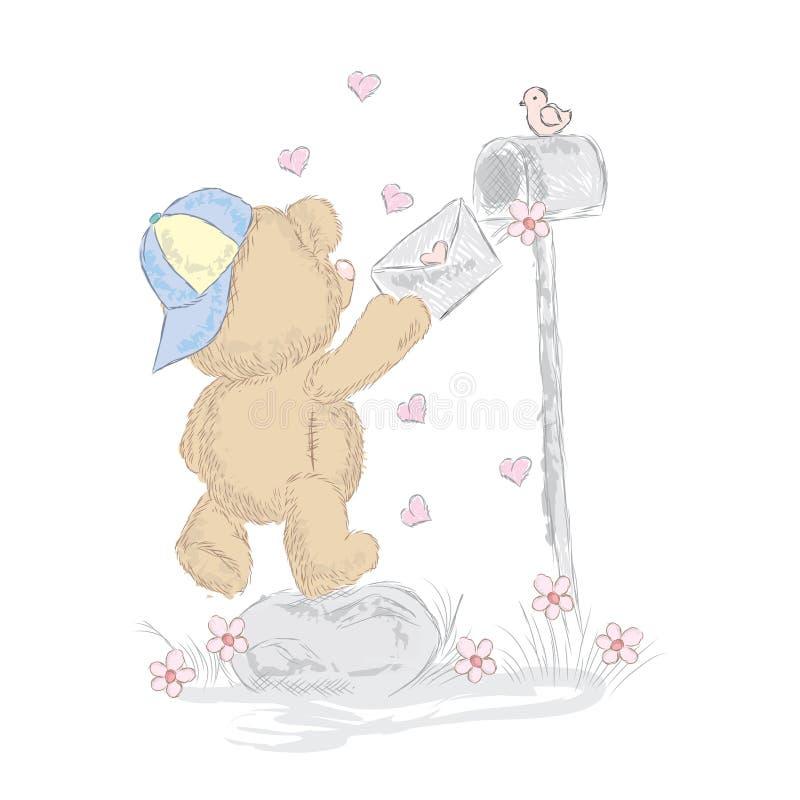 Śliczni niedźwiadkowi lisiątka które rysowali ręką Wektorowy miś ilustracja wektor