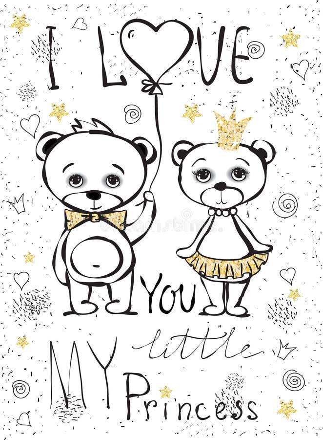 Śliczni niedźwiedzie w miłości, kartka z pozdrowieniami ilustracja wektor