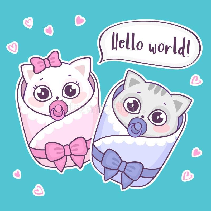 Śliczni nowonarodzeni dziecko koty mówi cześć świat royalty ilustracja