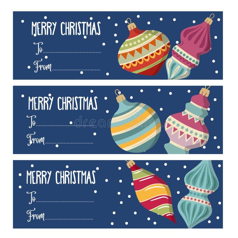 Śliczni płascy projektów boże narodzenia przylepiają etykietkę kolekcję z bożego narodzenia bal ilustracji