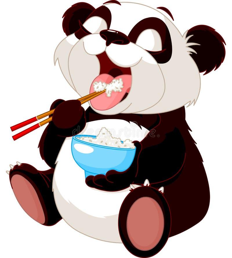 Śliczni pandy łasowania ryż ilustracja wektor