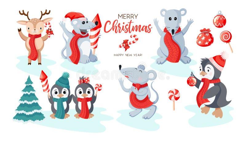 Śliczni pingwiny, mouses i rzeczy ikona, ustawiają odosobnionego na białym tle ilustracja wektor