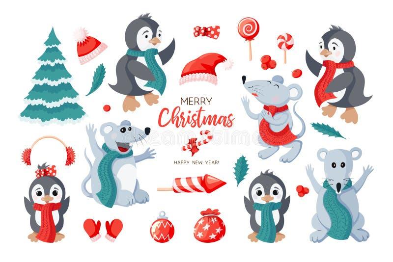 Śliczni pingwiny, mouses i rzeczy ikona, ustawiają odosobnionego na białym tle ilustracji