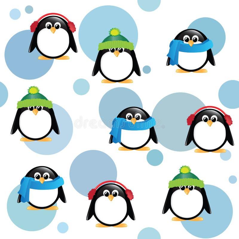 Śliczni pingwiny na łaciastym tle royalty ilustracja