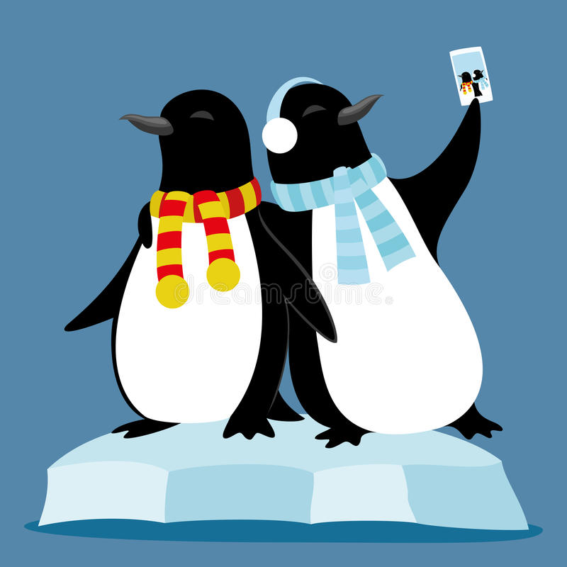 Śliczni pingwiny na lodowym floe royalty ilustracja