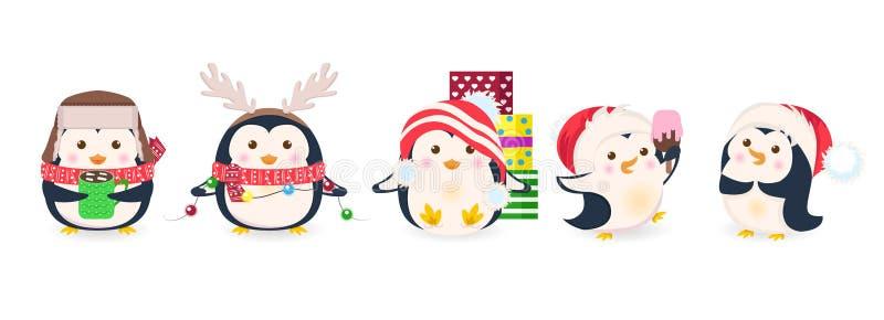 Śliczni pingwiny ustawiający Xmas kreskówki wektoru ilustracja obraz stock