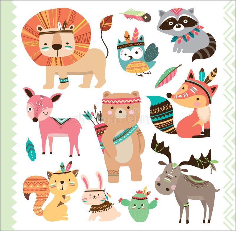 Śliczni plemienni zwierzęta ilustracja wektor