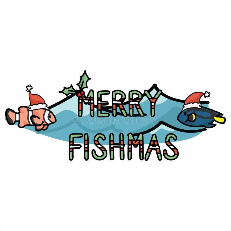 Śliczni podwodni wesoło fishmas gręplują kreskówka motywu wektorowego ilustracyjnego set Wręcza rysującemu odosobnionemu Santa ka