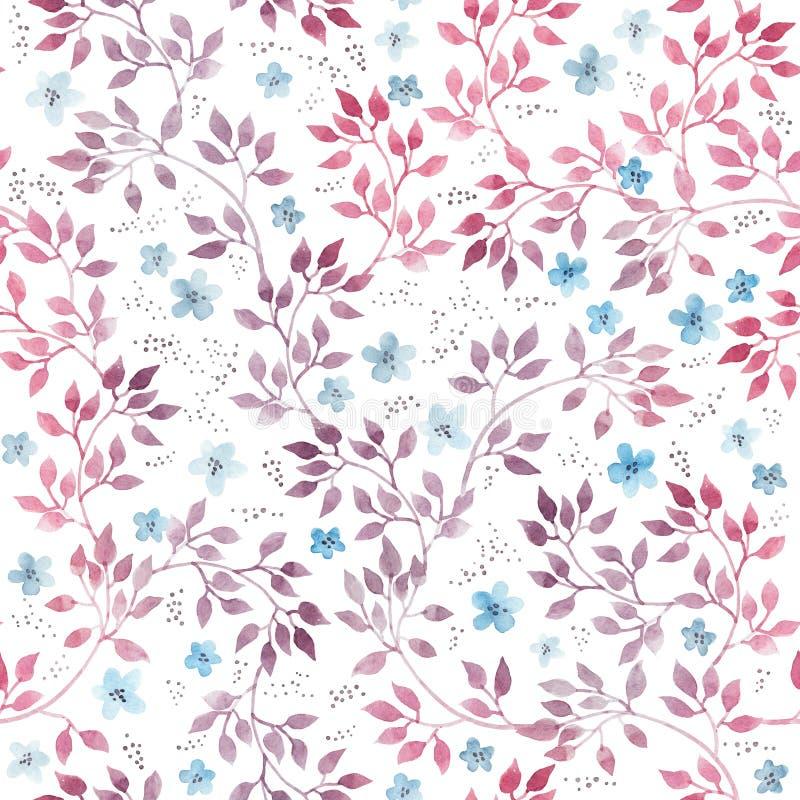 Śliczni praforma kwiaty, liście i bezszwowy kwiecisty wzoru Ręka rysujący aquarelle ilustracja wektor
