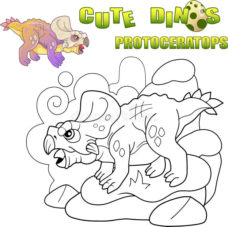 Śliczni prehistoryczni dinosaurów protoceratops, śmieszna ilustracja ilustracji