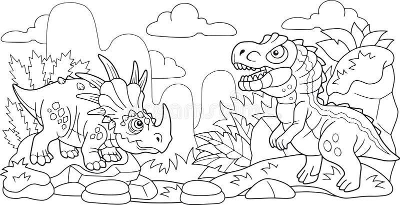 Śliczni prehistoryczni dinosaury, kolorystyki książka, śmieszna ilustracja ilustracji