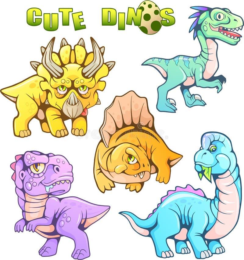 Śliczni prehistoryczni dinosaury, set śmieszni wektorowi wizerunki royalty ilustracja